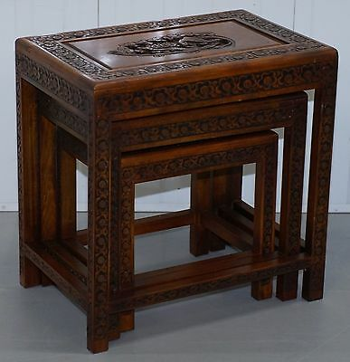 Lovely Chinese Teak Nest Of Three Hand Carved Wood Bird Detailed Vintage Tables
