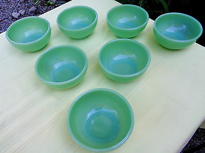 """Lot of 7 Vintage Fire King Jadite Chili Cereal Bowls 5"""" Oven Ware MINT Free Ship"""