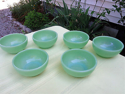 """Lot of 6 Vintage Fire King Jadite Chili Cereal Bowls 5"""" Oven Ware MINT Free Ship"""