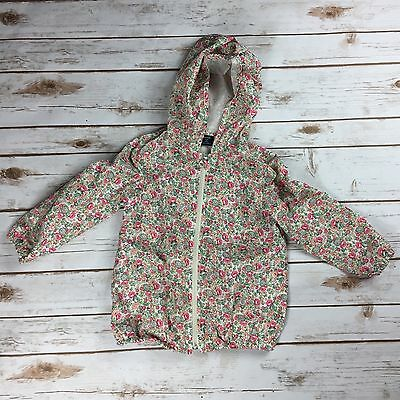 Baby Gap Girls Floral Spring Rain Jacket Zip Up Sz 4T Pink Ivory Green