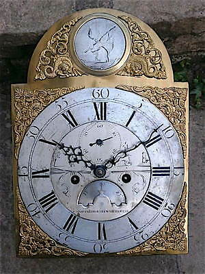 8 day c1760  LONGCASE  CLOCK  dial + movement