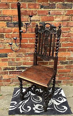 Antiqe carved oak Victorian gothick revival chair