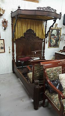 Antique 1860's Black Walnut Half Tester Bed