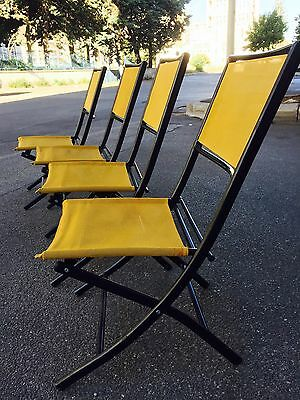 4 Folding Chair Sedie In Ferro E Corda Design Originale Anni '70
