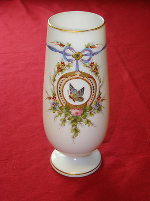 Vintage white Opaque or opaline glass Vase enamel painted Floral Butterfly