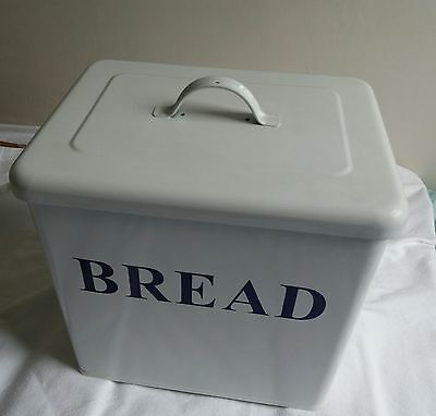 Enamel Blue and White Retro Bread Bin
