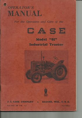 1946 Case Si Tractor Operator's Manual 5618 First Edition