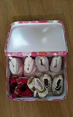 baby girls 0-3 3-6 size 3 pink pram soft shoes and boots bundle box included