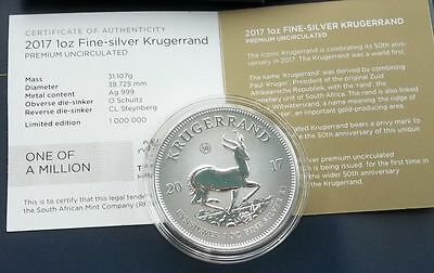 2017 South Africa 50th Anniversary Krugerrand Silver Proof 1oz Coin Box Coa