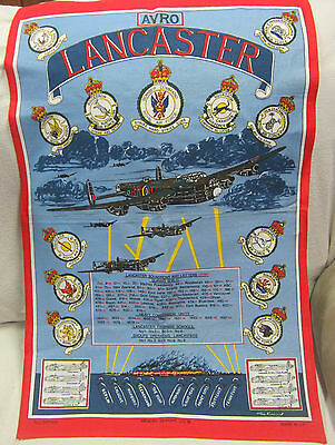 """WWII Lancaster Bomber Royal Air Force Cotton 19 """" x 30 """" Tapestry Print in U.K"""