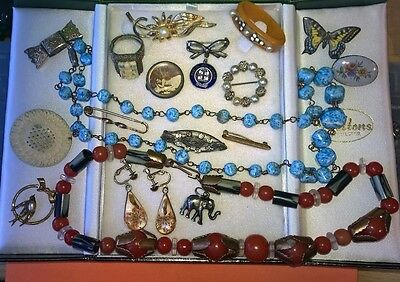 Collection of mixed VINTAGE costume jewellery - wear spare repair -all preloved