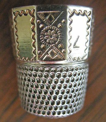 Old Sterling Silver Thimble Simon Brothers Panel Panelled With Gold Vermeil
