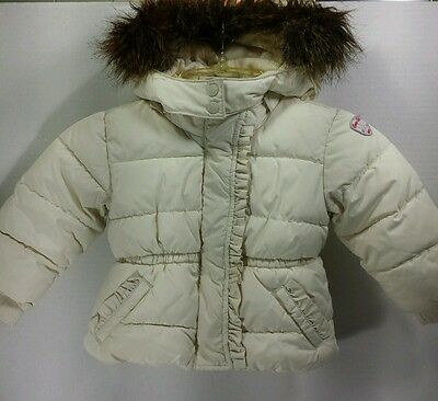 Baby Gap Infant Girls Winter Puffer Coat Size 12-18 Months Hooded Ivory Jacket