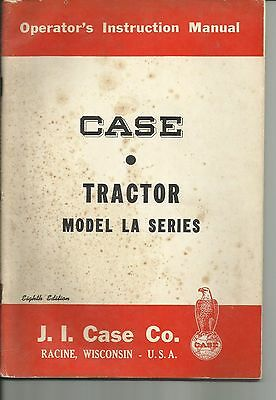 1950 Case Op Instruction Manual La Tractor 5288 Eight Edition