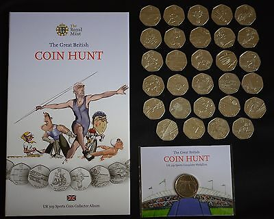 Royal mint great British coin hunt Olympic 50p album complete + new medallion
