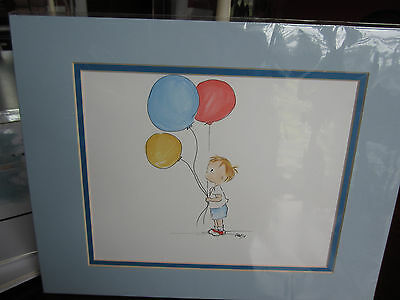 ADORABLE ILLUSTRATION OF A 3 YEAR OLD BLOND TOT HOLDING  BALLOONS MATTED 11x14