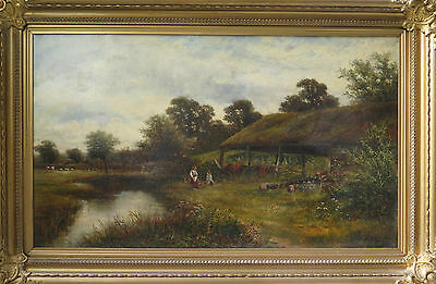 Fine 19th c British Landscape Antique Oil Painting. Signed & Dated