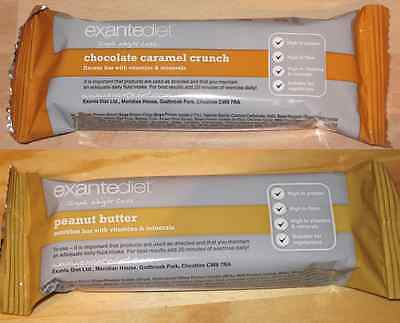 20x Exante Diet VLCD Bars -  Chocolate Caramel Crunch and Peanut Butter- MRP