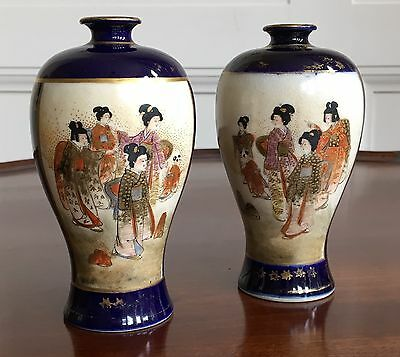 A Pair Of Japanese Satsuma Pottery Vases, Meiji Period, Signed. 12cm High.