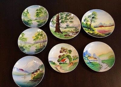 7 Vintage Hand Painted Made in Japan Saucer Hanging Plate Artist Signed