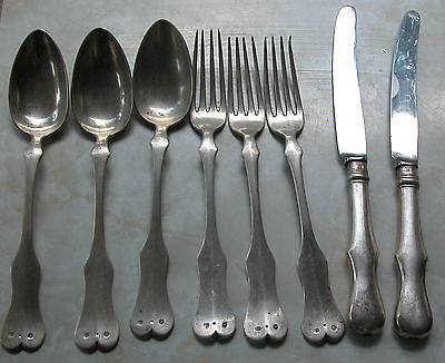 Austro Hungarian Antique Solid Silver Part Of Flatware Set -Weight 639 Grams