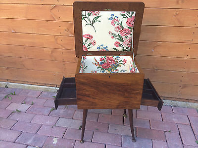 Stunning Vintage Retro Two Draw Sewing Box On Legs