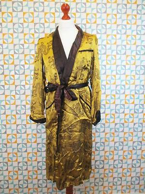 M - Vintage 1930's Gents Gown Oriental Chinese Dragon Silk Smoking Jacket - L684
