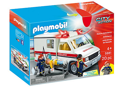 BNIB Playmobil 5681 City Action Rescue Ambulance with Lights and Sounds, 20 Piec