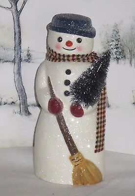 paper mache snowman bottle brush tree crafted using a vintage chocolate mold