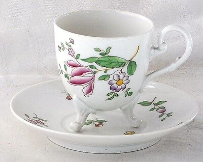 Late C19Th Continental Hand Painted Floral Cabinet Cup And Saucer On Three Feet