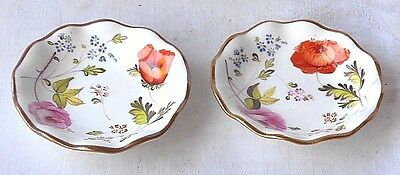 Pair Early C19Th Coalport Hand Painted Pin Dishes With A Floral Pattern