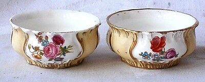 Pair Early C19Th Coalport Hand Painted Table Salts With A Floral Pattern