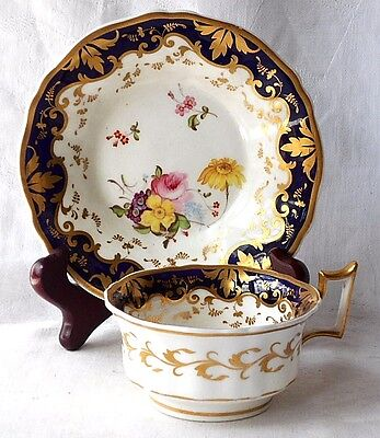 Early C19Th Coalport Hand Painted Cup And Saucer With A Floral Pattern & Gilding