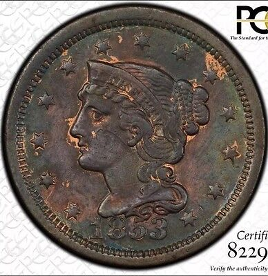 1853 Braided Hair Large Cent OBV Slant 5 Certified PCGS AU