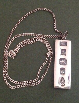 Solid Sterling Silver 1 Oz Ingot 1977/4.3cm Long/ 37g/ Sterling Silver Chain