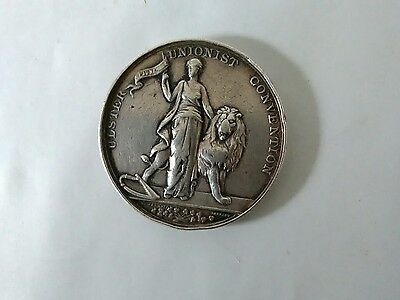 SCARCE BELFAST ULSTER UNIONIST CONVENTION 1892 SILVER MEDAL 38mm XF+