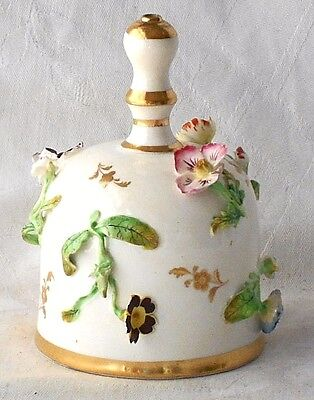 C19Th Creamware Hand Bell With Applied Flowers And Leaves