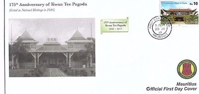175th Anniversary of Kwan Tee Pagoda MAURITIUS FDC and Rs 10 stamp