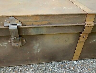 Large Antique Rustic Solid Metal Trunk/Chest/Storage Box