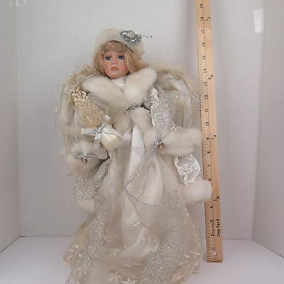 "Vintage 18"" Porcelain Angel With Feather Wings And Stand"