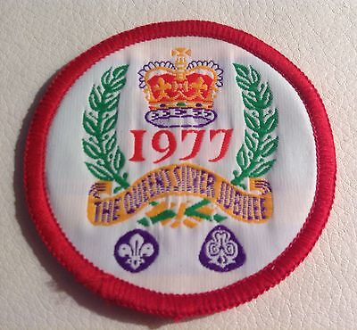 GirlGuide/Scout Queen's 1977 Silver Jubilee Cloth Badge.40th B/day Gift? PERFECT