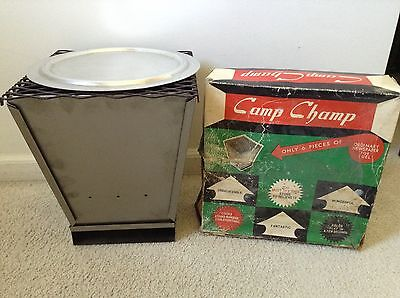 Vintage Camp Champ Folding Camping Stove Newspaper Fuel Made in Japan