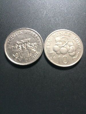 Bailiwick of Guernsey & Jersey (Channel Isle) 10p Coins X 2 1992 ...Very Rare...