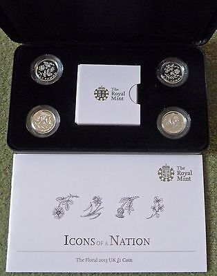 2013 Royal Mint Piedfort Silver Proof £1 Icons Of A Nation Floral 4 Coin Set