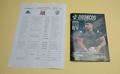 London Broncos v Featherstone Rovers 25/6/2017 - Match Programme & Teamsheet
