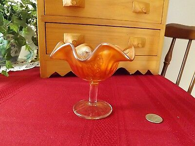 Carnival Glass Sherbet - Leaf Pattern - Amber Lustre - Excellent++ Condition