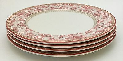 4 Royal Doulton Provence Rouge Red/Pink Toile Dinner Plates 10 7/8""