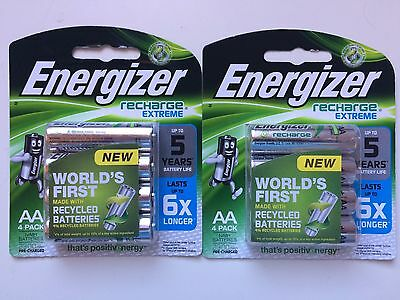 8 Energizer Recharge Extreme AA Batteries (2x4 Pack) FREE POSTAGE
