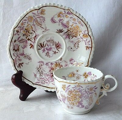 Early C19Th Hand Painted Coalport Cup And Saucer Floral Pattern And Gilding