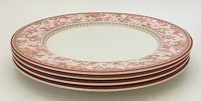 "4 Royal Doulton Provence Rouge Red/Pink Toile Dinner Plates 10 7/8"" *READ*"
